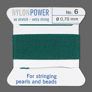 thread, nylon, green, size #6. sold per 2-yard card.