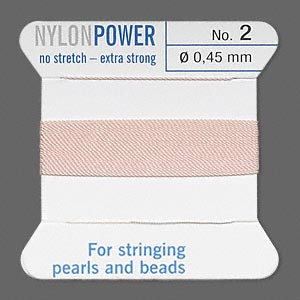 thread, nylon, light pink, size #2. sold per 2-yard card.
