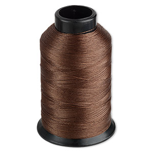 thread, nymo, nylon, brown, size d. sold per 3-ounce spool.