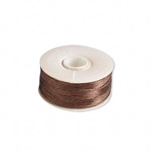 thread, nymo, nylon, brown, size d. sold per pkg of (2) 64-yard bobbins.
