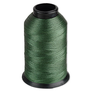 thread, nymo, nylon, green, size d. sold per 3-ounce spool.