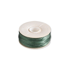 thread, nymo, nylon, green, size oo. sold per pkg of (2) 110-yard bobbins.