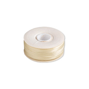 thread, nymo, nylon, light tan, size oo. sold per pkg of (2) 110-yard bobbins.