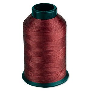 thread, nymo, nylon, red, size b. sold per 3-ounce spool.