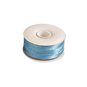 thread, nymo, nylon, turquoise blue, size b. sold per pkg of (2) 72-yard bobbins.