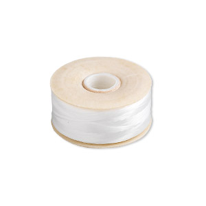thread, nymo, nylon, white, size b. sold per pkg of (2) 72-yard bobbins.