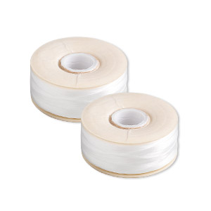 thread, nymo, nylon, white, size oo. sold per pkg of (2) 110-yard bobbins.