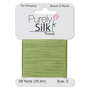 thread, purely silk™, bright green, size d. sold per 28-yard card.