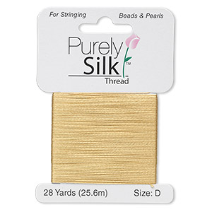 thread, purely silk™, gold, size d. sold per 28-yard card.