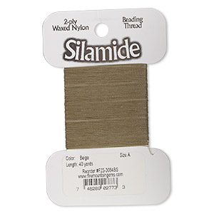 thread, silamide, 2-ply waxed nylon, beige, size a, 4-pound test. sold per 40-yard card.