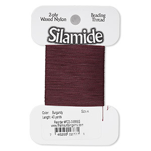 thread, silamide, 2-ply waxed nylon, burgundy, size a, 4-pound test. sold per 40-yard card.