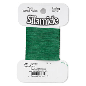 thread, silamide, 2-ply waxed nylon, kelly green, size a, 4-pound test. sold per 40-yard card.