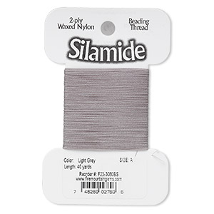 thread, silamide, 2-ply waxed nylon, light grey, size a, 4-pound test. sold per 40-yard card.