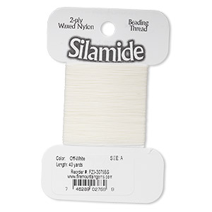 thread, silamide, 2-ply waxed nylon, off-white, size a, 4-pound test. sold per 40-yard card.