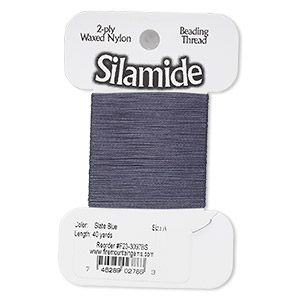 thread, silamide, 2-ply waxed nylon, slate blue, size a, 4-pound test. sold per 40-yard card.