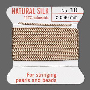 thread, silk, beige, size #10. sold per 2-yard card.