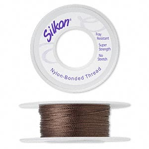 thread, silkon, bonded nylon, heavyweight #3, dark brown. sold per 20-yard spool.