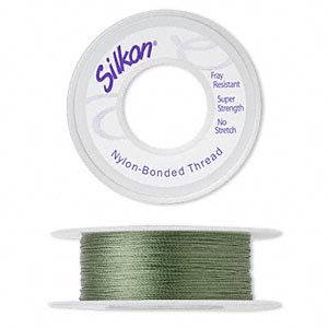 thread, silkon, bonded nylon, lightweight #1, green. sold per 100-yard spool.