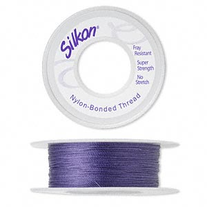 thread, silkon, bonded nylon, lightweight #1, purple. sold per 100-yard spool.