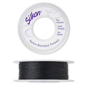 thread, silkon, bonded nylon, medium-weight #2, black. sold per 100-yard spool.