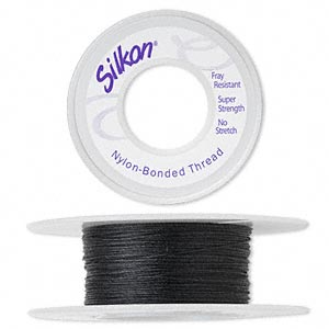 thread, silkon, bonded nylon, medium-weight #2, black. sold per 20-yard spool.