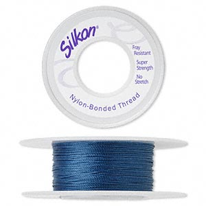 thread, silkon, bonded nylon, medium-weight #2, dark blue. sold per 20-yard spool.