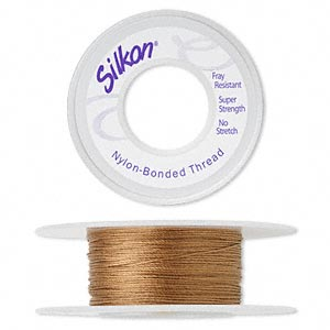 thread, silkon, bonded nylon, medium-weight #2, light brown. sold per 20-yard spool.