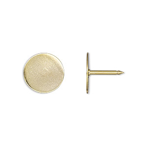 tie tac, gold-finished brass, 12mm flat round pad. sold per pkg of 10.