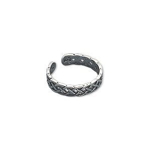toe ring, antiqued sterling silver, 4mm wide with celtic knot design, adjustable. sold individually.