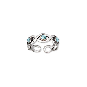 toe ring, antiqued sterling silver and crystal, silver and aqua blue, adjustable. sold individually.