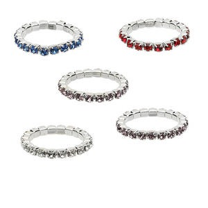 toe ring mix, stretch, glass rhinestone and silver-plated brass, mixed colors, 2.25mm wide with 1.75mm faceted round, size 2-3. sold per pkg of 5.