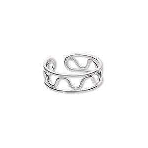 toe ring, sterling silver, 7mm wide, adjustable. sold individually.
