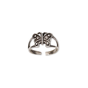 toe ring, sterling silver, 8mm wide with butterfly, adjustable. sold individually.