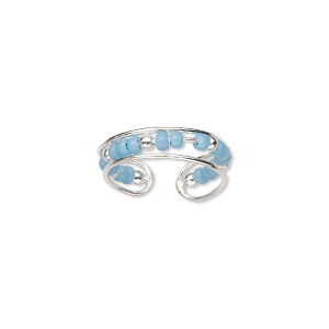 toe ring, sterling silver and glass, turquoise blue, 5mm wide, adjustable. sold individually.