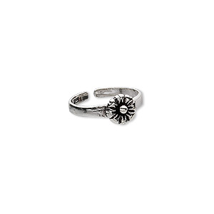toe ring, sterling silver, flower, adjustable. sold individually.