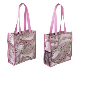 tote, polyester and nylon, tan and pink, 13 x 12 x 4 inches with paisley flowers design, velcro and zipper closure, 12-inch arm straps and detachable 4 x 2-1/2 inch coin purse. sold individually.