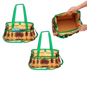 tote, woven pvc fabric, green/orange/red, 15x10x10 inches with sunflower design, 10-inch carry handle and detachable adjustable shoulder strap. sold individually.