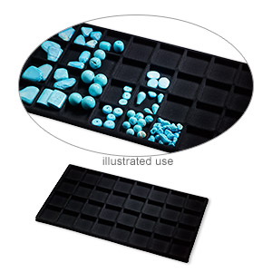 tray insert, flocked velveteen, black, 14 x 7-3/4 x 1/2 inches with (32) 1-1/2 x 1-5/8 inch compartments. sold per pkg of 2.