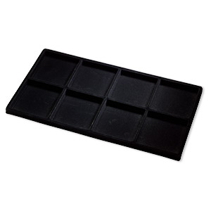 tray insert, flocked velveteen, black, 14 x 7-3/4 x 1/2 inches with (8) 3-1/4 x 3-1/2 inch compartments. sold per pkg of 2.