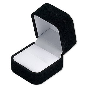 velvet ring box, black with white lining, approximately 1-3/4 x 1-5/8 x 1-1/2 tall, sold per box.