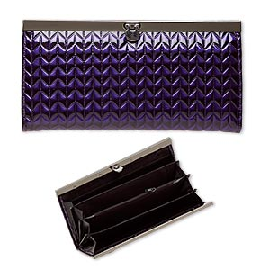 wallet, plastic/nylon/gunmetal-finished steel, purple/black/grey, 7-1/2x4 inch rectangle with raised chevron design. sold individually.