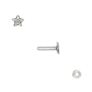 washer and brad, antique silver-plated brass, 4x0.7mm and 10x5.5mm with 5.5x5mm star and 1.3mm post diameter. sold per pkg of (2) 2-piece sets.