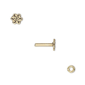 washer and brad, antiqued brass, 4x0.7mm and 10.5x6mm with 6x5.5mm flower and 1.5mm post diameter. sold per pkg of (2) 2-piece sets.
