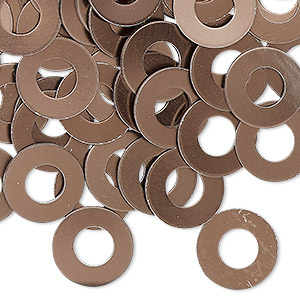 washer, anodized aluminum, brown, 13mm double-sided flat round blank with 6mm hole, 20 gauge. sold per pkg of 100.