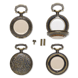 watch body, acrylic and antique brass-finished pewter (zinc-based alloy), transparent brown, 41x27mm with 27mm round and floral design. sold per 5-piece set.