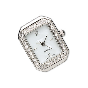 watch face, silver-finished pewter (zinc-based alloy) and glass rhinestone, white and clear, 25x19mm 3-strand rectangle with dial. sold individually.