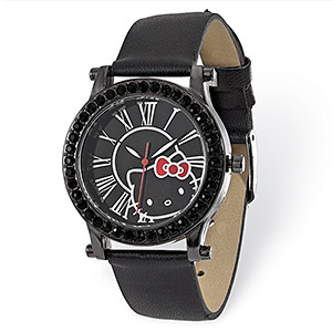 watch, hello kitty, faux leather / crystal / stainless steel / black-plated pewter (zinc-based alloy), multicolored, 17mm wide band with 36mm watch face and hello kitty face with roman numerals, 8-1/4 inches. sold individually.