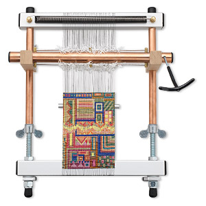 weaving / tapestry loom, mirrix little guy, aluminum / steel / copper / wood, 12 inches with 22x9-inch looming length. sold individually.