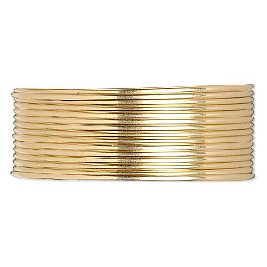 wire, 12kt gold-filled, dead-soft, half-round, 22 gauge. sold per pkg of 5 feet.