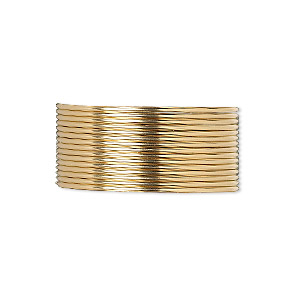 wire, 12kt gold-filled, dead-soft, round, 20 gauge. sold per pkg of 5 feet.